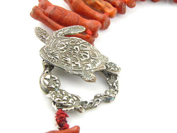 Turtles Swimming Amongst the Coral Fine Silver Coral Neclace - Keja Designs Jewelry