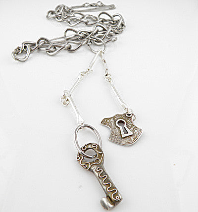 Under Lock & Key FIne Silver Pendant & Stainless Steel Chain Necklace