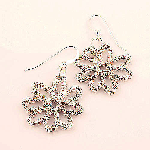 Winter Floral Fine Silver Earrings