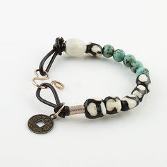 African Trade Bead & Turquoise Bronze Leather Prosperity Bracelet - Keja Designs Jewelry