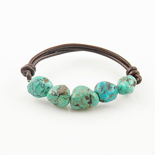 Turquoise Brown Leather Stretch Bracelet - Keja Designs Jewelry