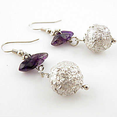 Amethyst - Castle in the Sky - Pure Fine Silver Earrings - Keja Designs Jewelry