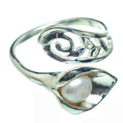 Pearl Cala Lily Sterling Silver Adjustable Wrap Ring