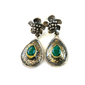 Emerald Sterling Silver Two Tone Hibiscus Earrings - Keja Designs Jewelry