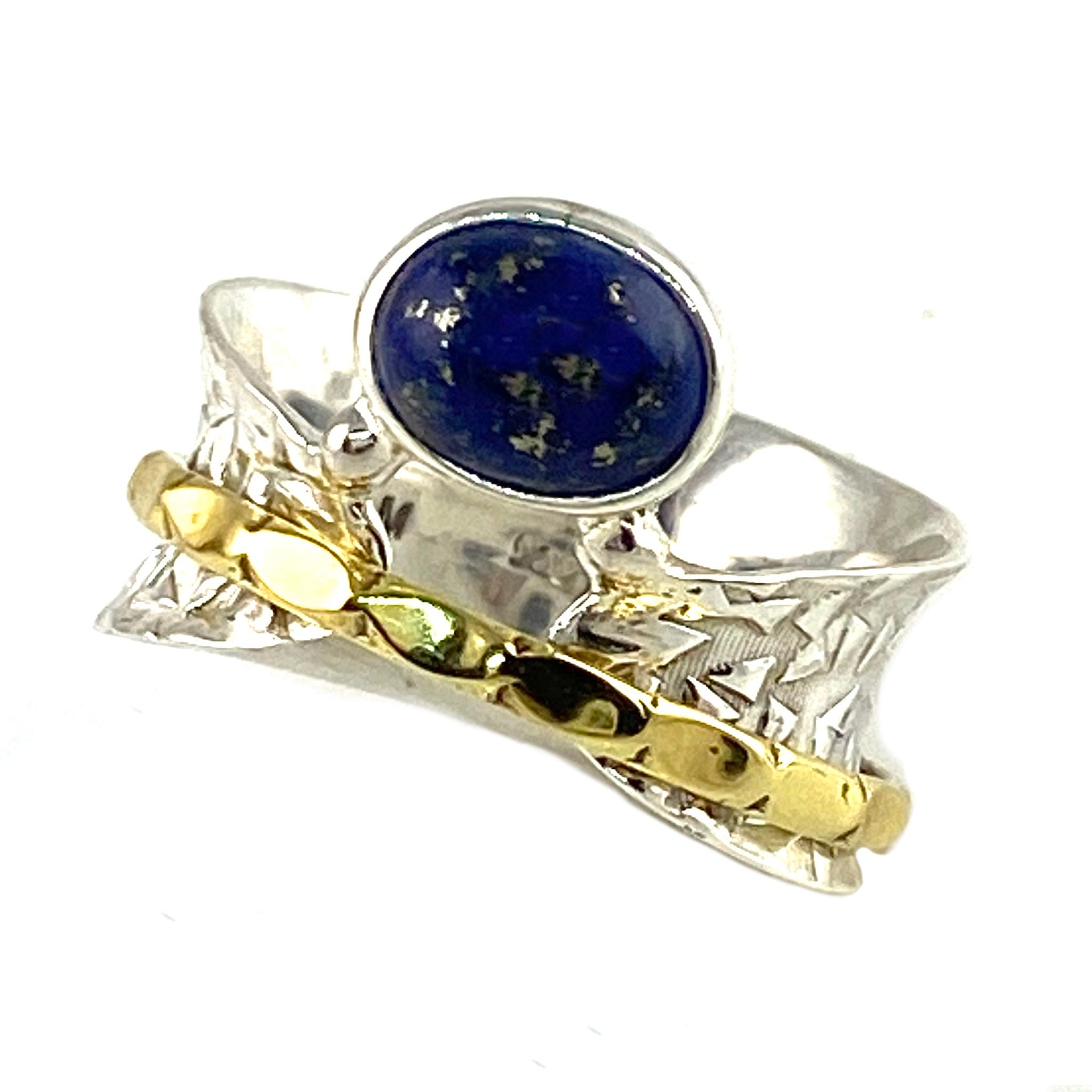 Lapis Three Tone Sterling Silver Bridge Spinner Ring