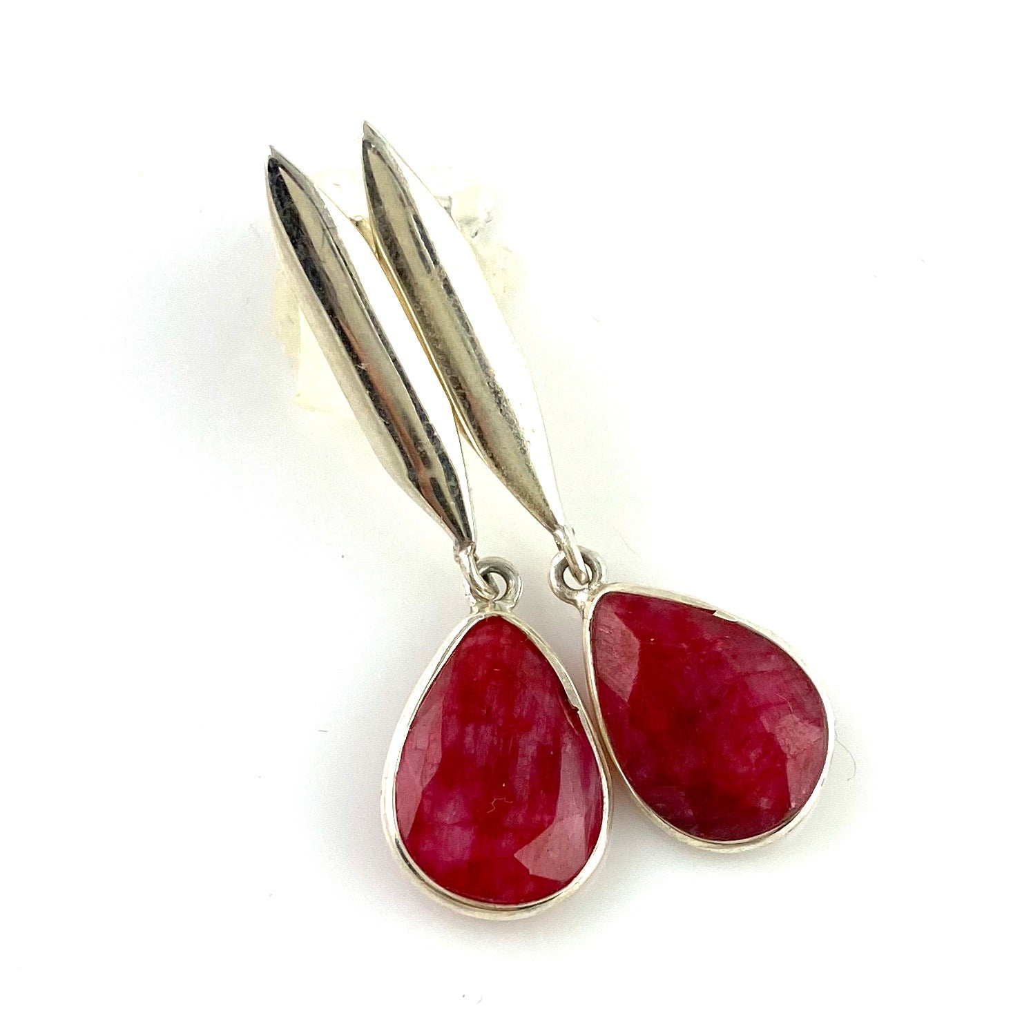 Ruby Sterling Silver Tear Drop Earrings - Keja Designs Jewelry