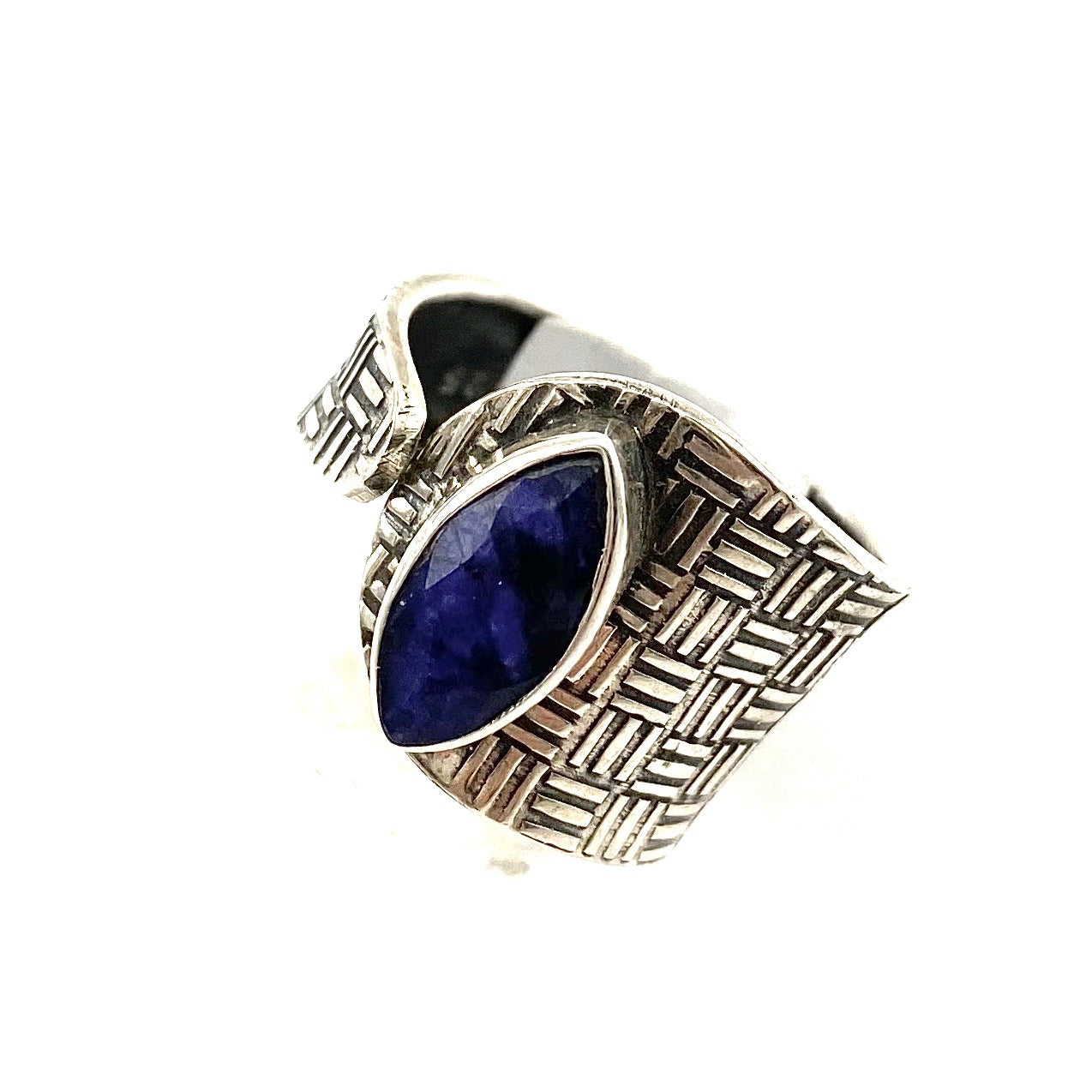 Sapphire Sterling Silver Adjustable Textured Ring - Keja Designs Jewelry