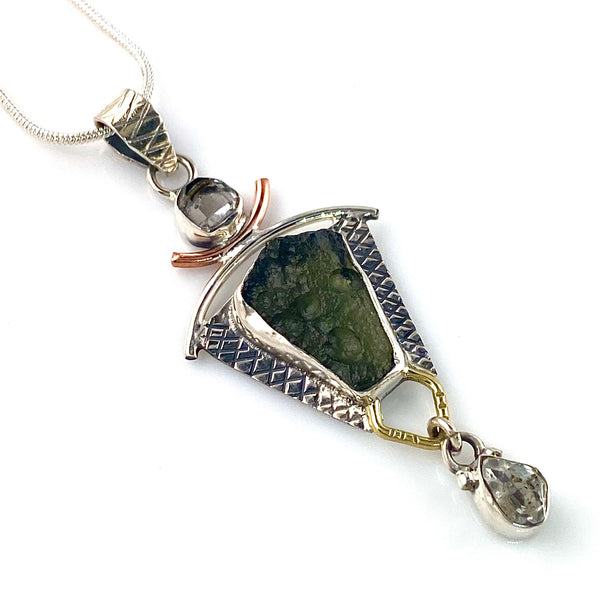 Moldavite & Herkimer Diamond Sterling Silver Three Tone Pendant