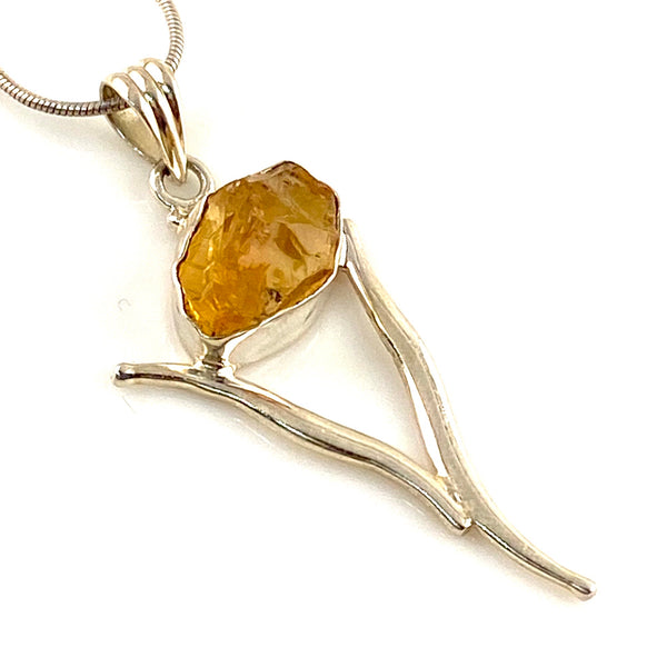 Citrine Rough Rough Sterling Silver Wishbone Pendant