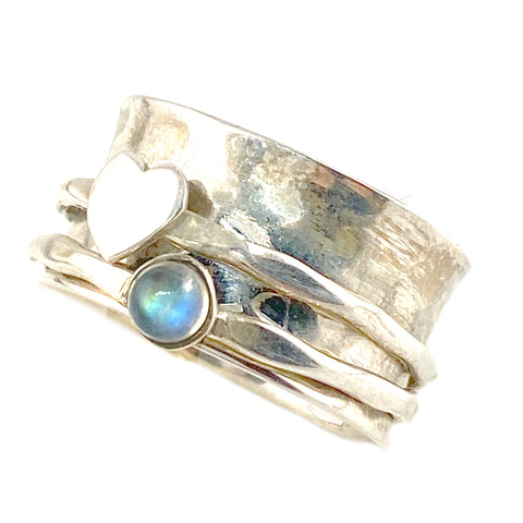 Spinner Ring - Heart's Desire Moonstone Ring - Keja Designs Jewelry