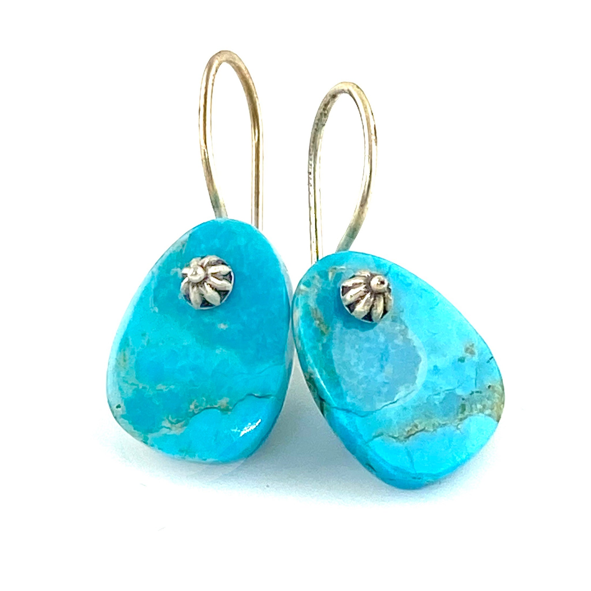 Blue Turquoise Sterling Silver Tab Earrings