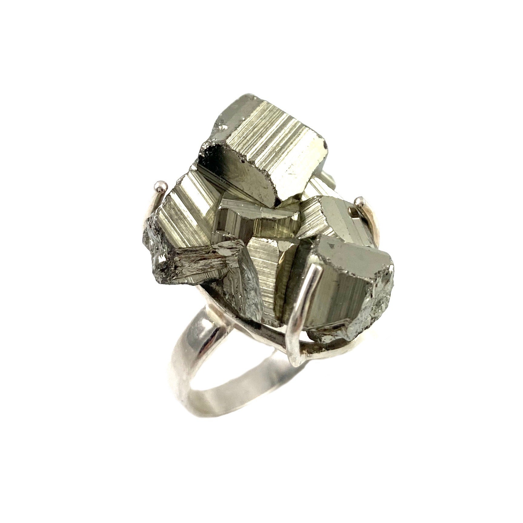 Golden Pyrite Rough Sterling Silver Prong Ring - Keja Designs Jewelry