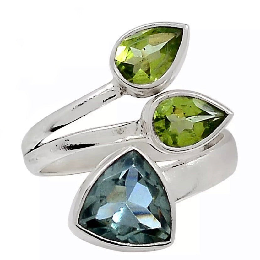 Alexandrite & Peridot Adjustable Sterling Silver Ring