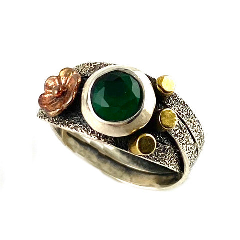 Emerald Two Tone Artisan Crafted CrisCross Ring - Keja Designs Jewelry