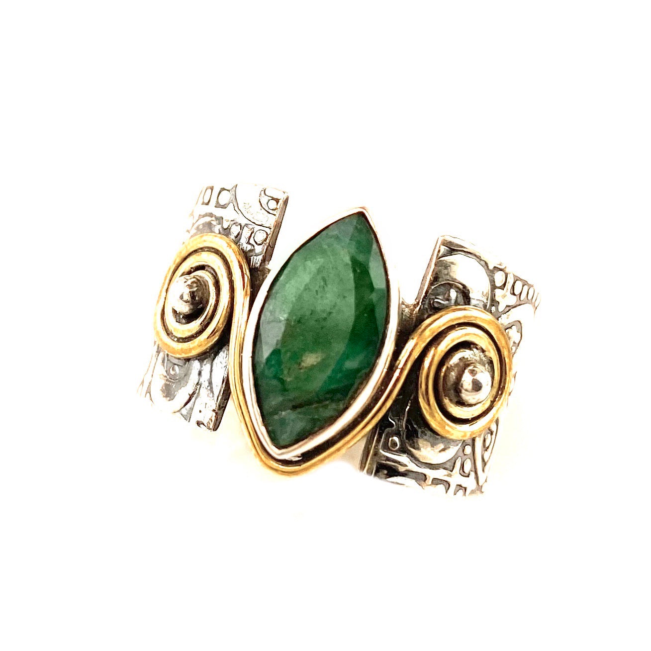 Emerald Sterling Silver Two Tone Band Ring - Keja Designs Jewelry