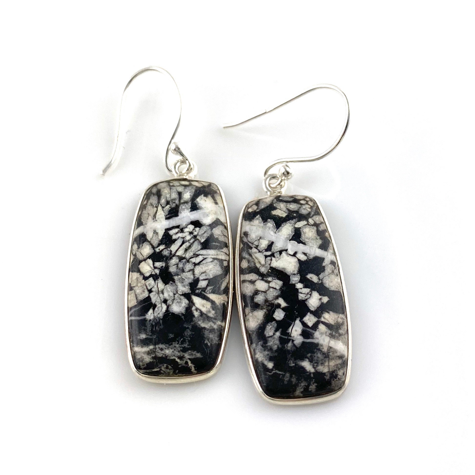 Chrysanthemum Sterling Silver Oblong Earrings - Keja Designs Jewelry