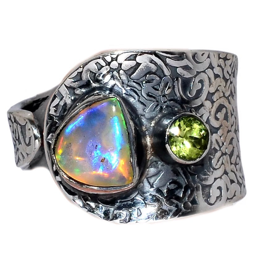 Ethiopian Opal Rough and Peridot Adjustable Ring