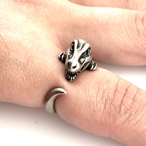 Animal Wrap Ring - T-Rex - White Bronze - Adjustable Ring - Keja Designs Jewelry
