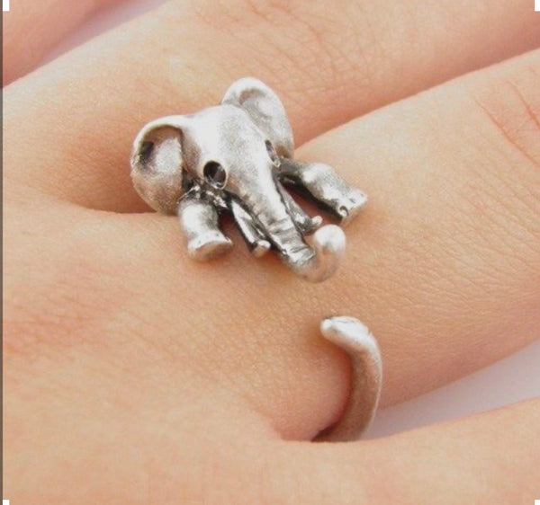 Animal Wrap Ring - Elephant - White Bronze - Adjustable Ring - keja jewelry - Keja Designs Jewelry
