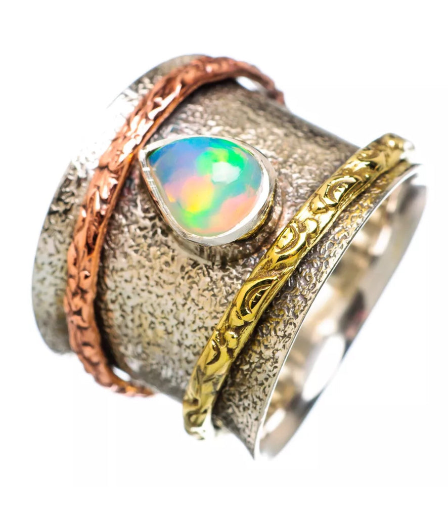 Spinner Ring Ethiopian Opal Pear - Keja Designs Jewelry