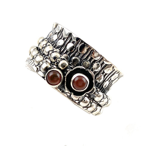 Spinner Ring - Sterling Silver Garnet - Keja Designs Jewelry