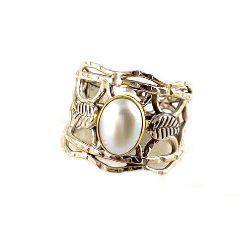 Pearl Two Tone Vine Sterling Silver Band Ring - Keja Designs Jewelry