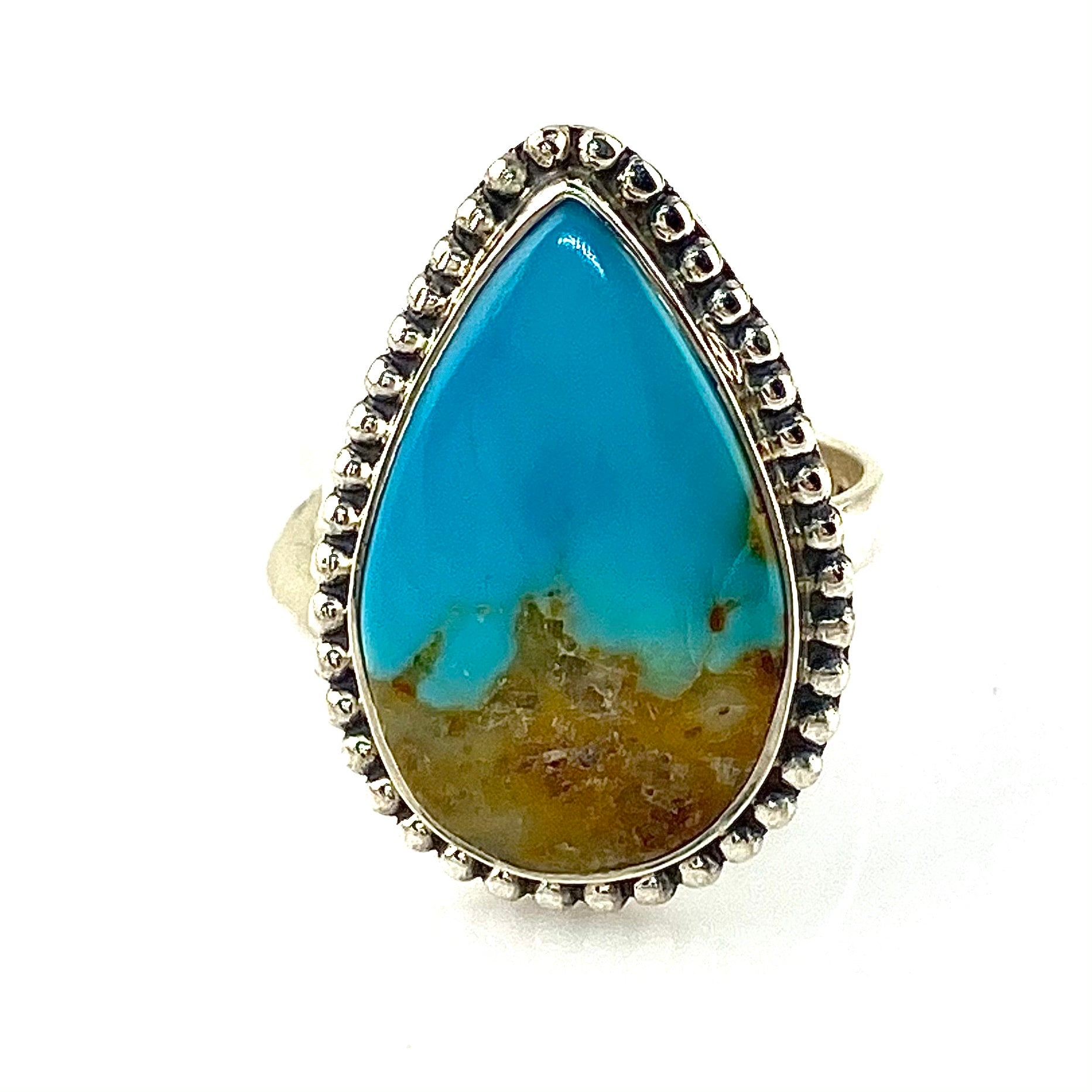 Nevada Aztec Blue Turquoise Sterling Silver Ring