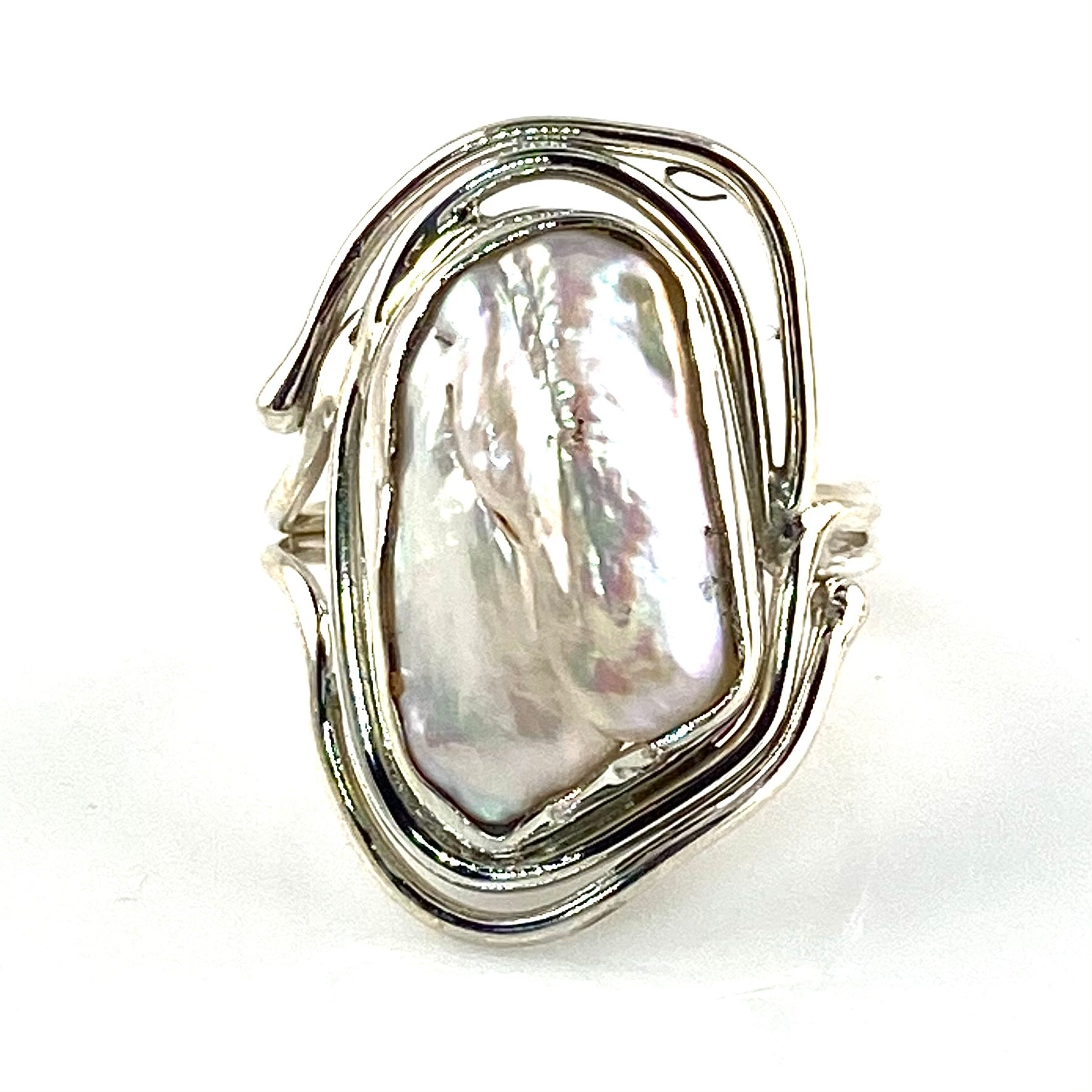 Pearl Sterling Silver Swirls Ring