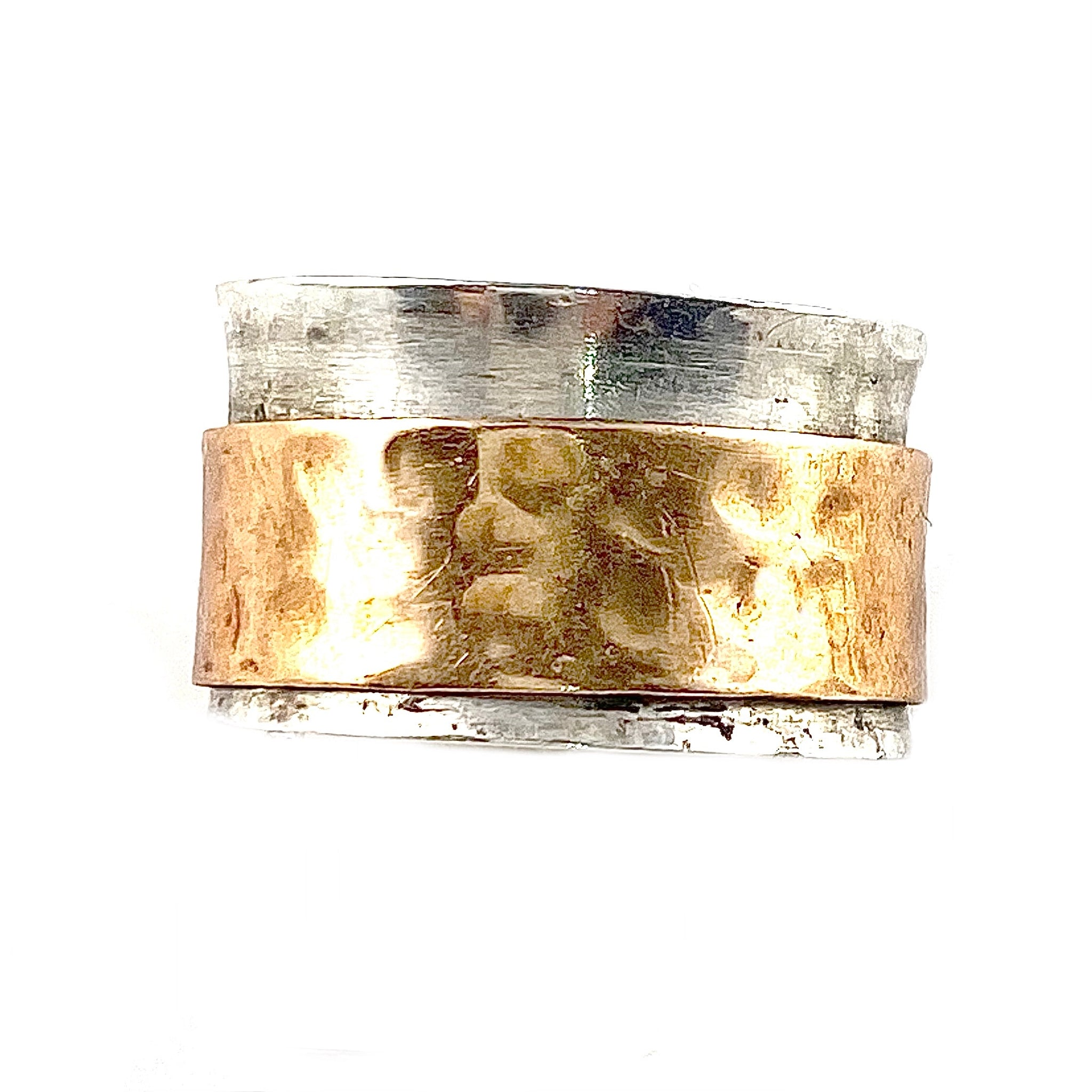 Spinner Ring - Two Tone - Wide Copper Band