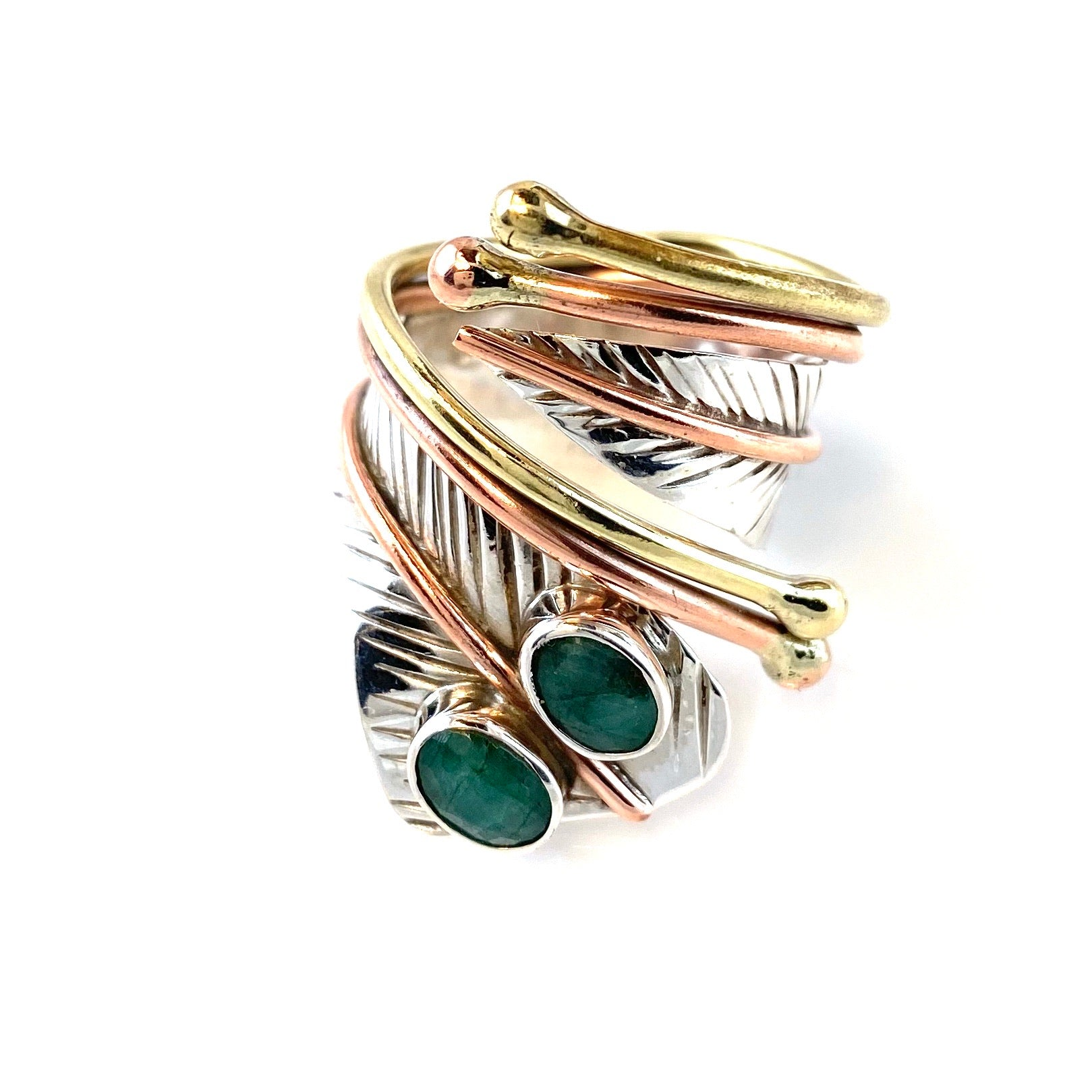 Emerald Double Stone Sterling Silver Adjustable Wrap Ring - Keja Designs Jewelry