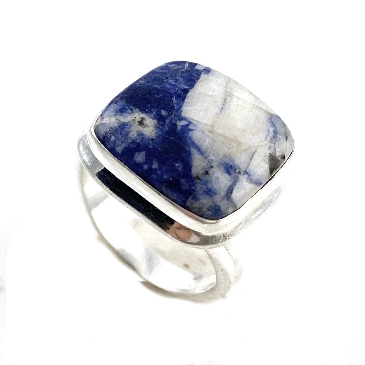 Sodalite Sterling Silver Square Ring - Keja Designs Jewelry