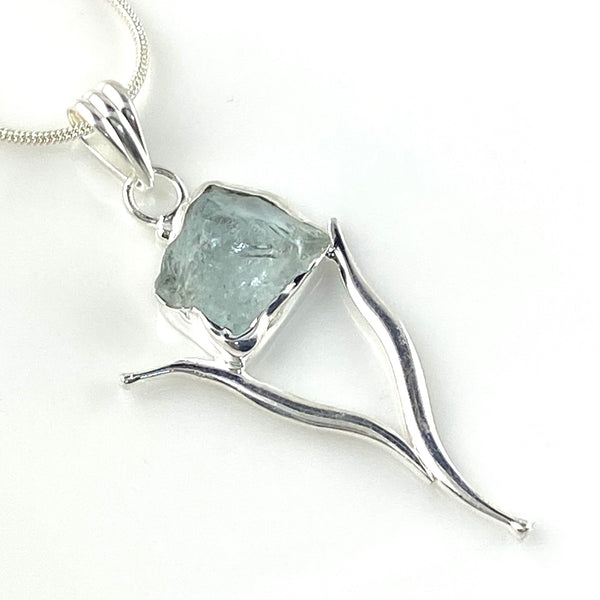 Aquamarine Rough Cut Sterling Silver Vortex Pendant