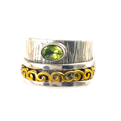 Spinner Ring - Two Tone Tone Peridot & Bronze