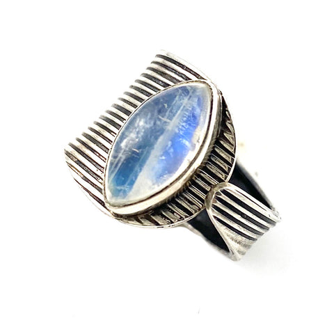 Moonstone Sterling Silver Adjustable Modern Ring - Keja Designs Jewelry