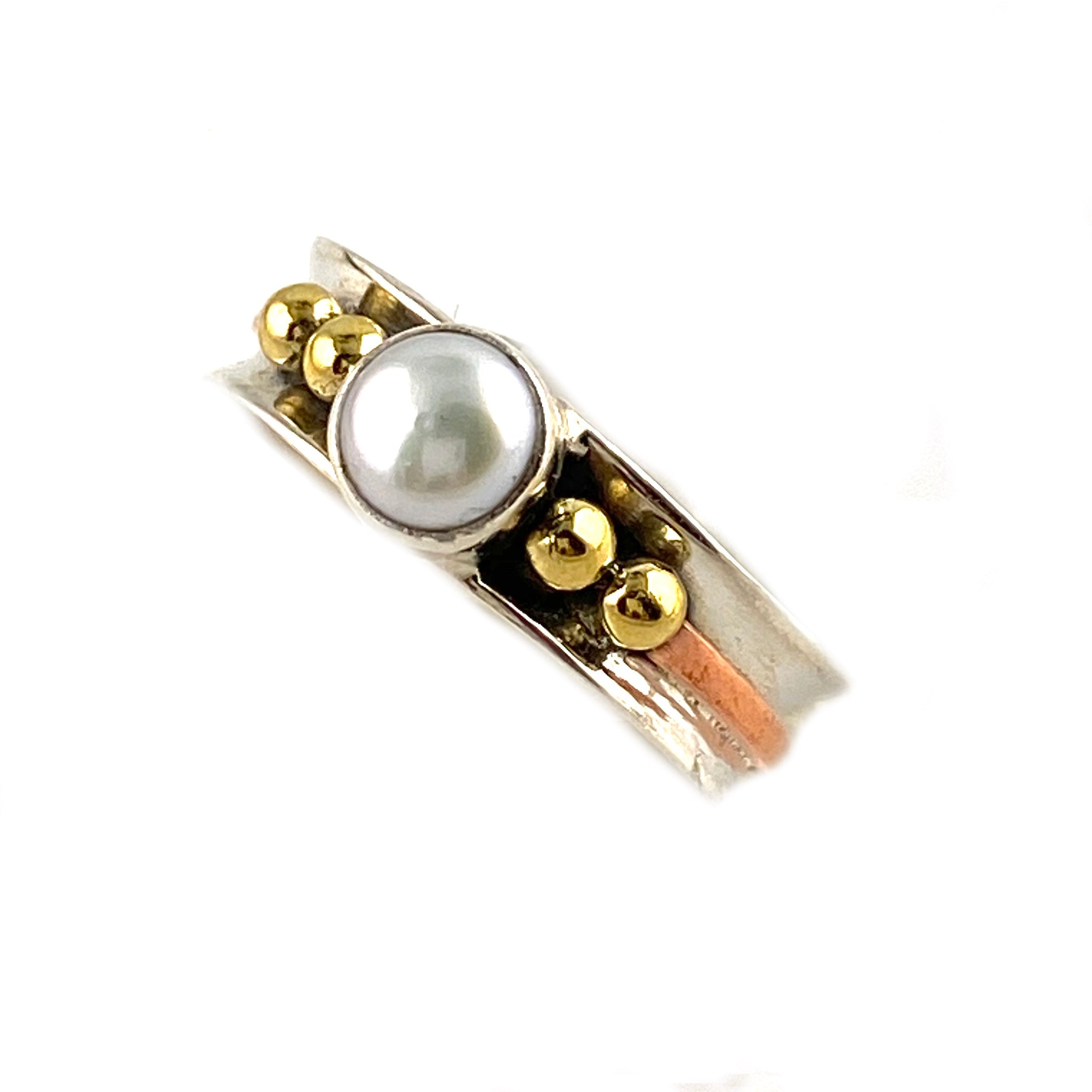 Pearl Three Tone Sterling Silver Ring