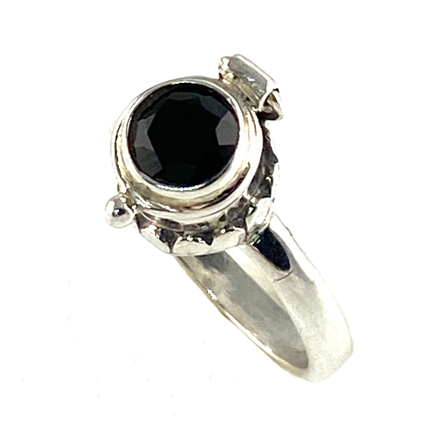 Black Onyx Sterling Silver Poison Ring