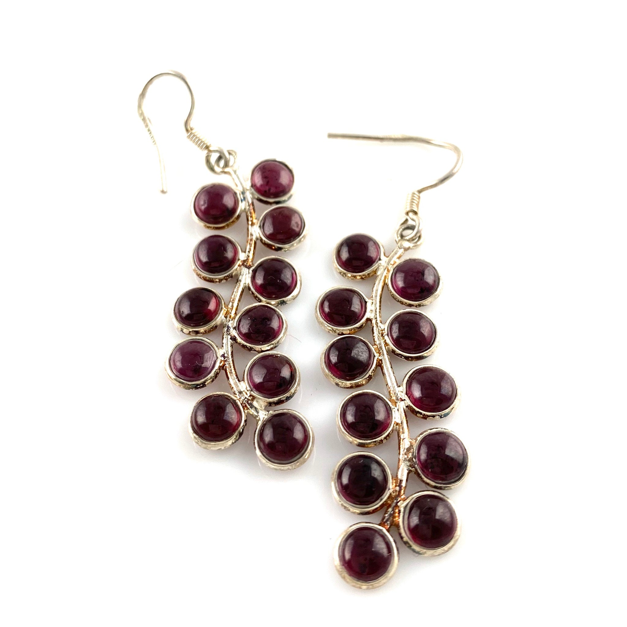 Garnet Sterling Silver Vine Earrings - Keja Designs Jewelry