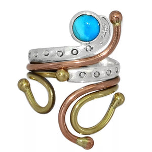 Turquoise Three Tone Sterling Silver Adjustable Ring - Keja Designs Jewelry