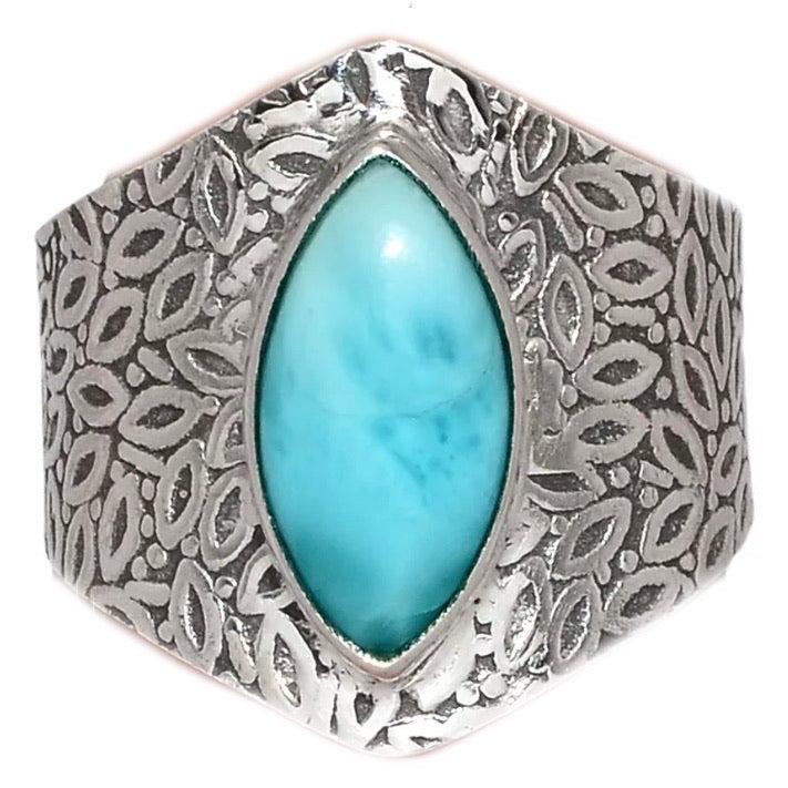 Larimar Sterling Silver Vine Pattern Band Ring