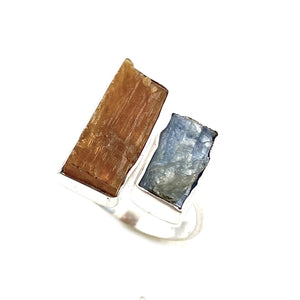 Kyanite Rough Adjustable Sterling Silver Ring - Keja Designs Jewelry