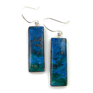 Azurite in Malachite Sterling Silver Long Earrings - Keja Designs Jewelry