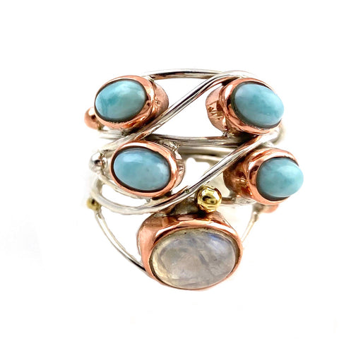 Larimar & Moonstone Sterling Silver Three Tone Collage Ring - Keja Designs Jewelry