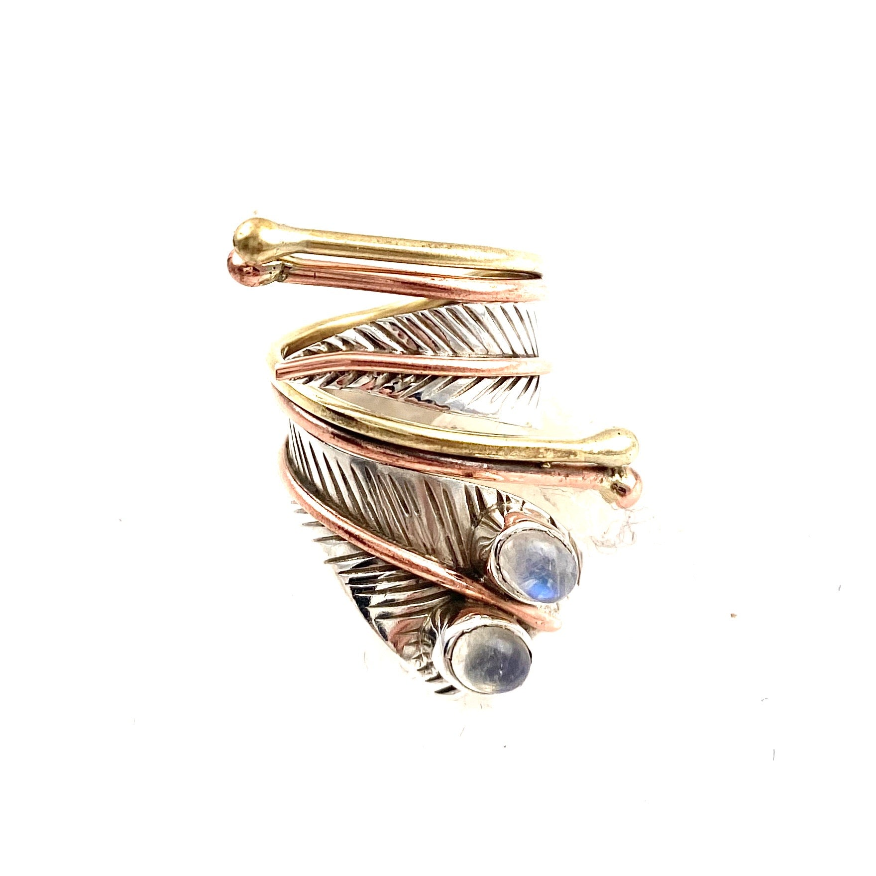 Moonstone Two Stone Adjustable Sterling Silver Wrap Ring - Keja Designs Jewelry