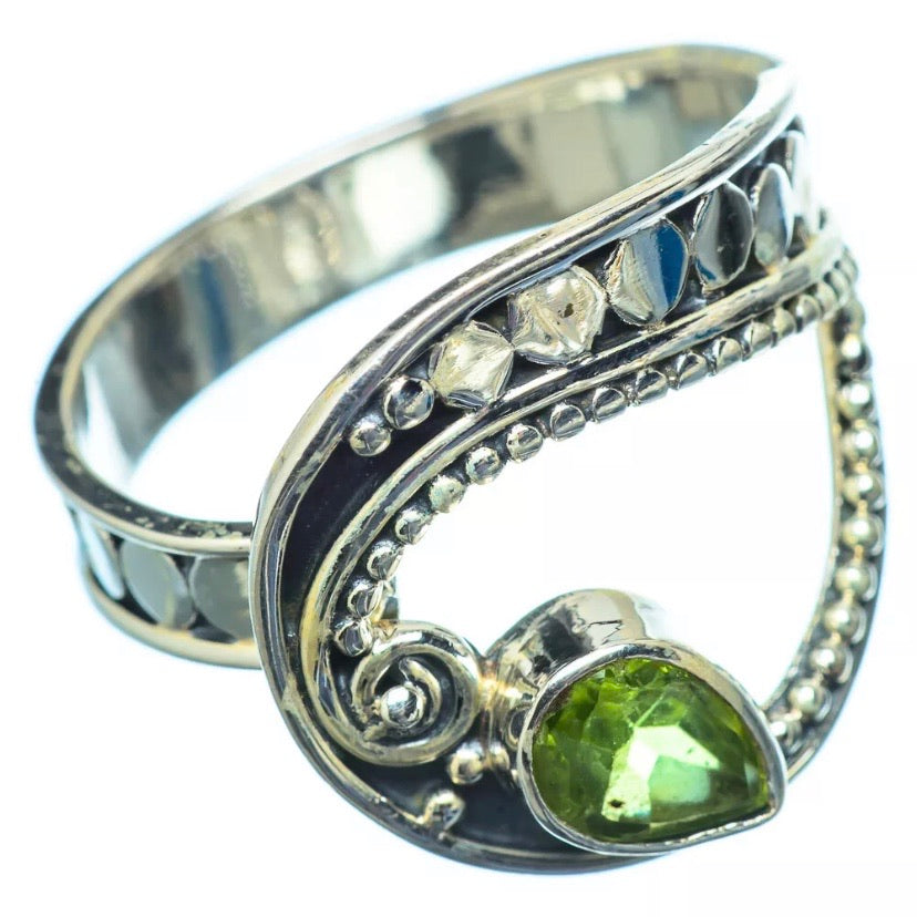 Peridot Adjustable Sterling Silver Paisley Ring