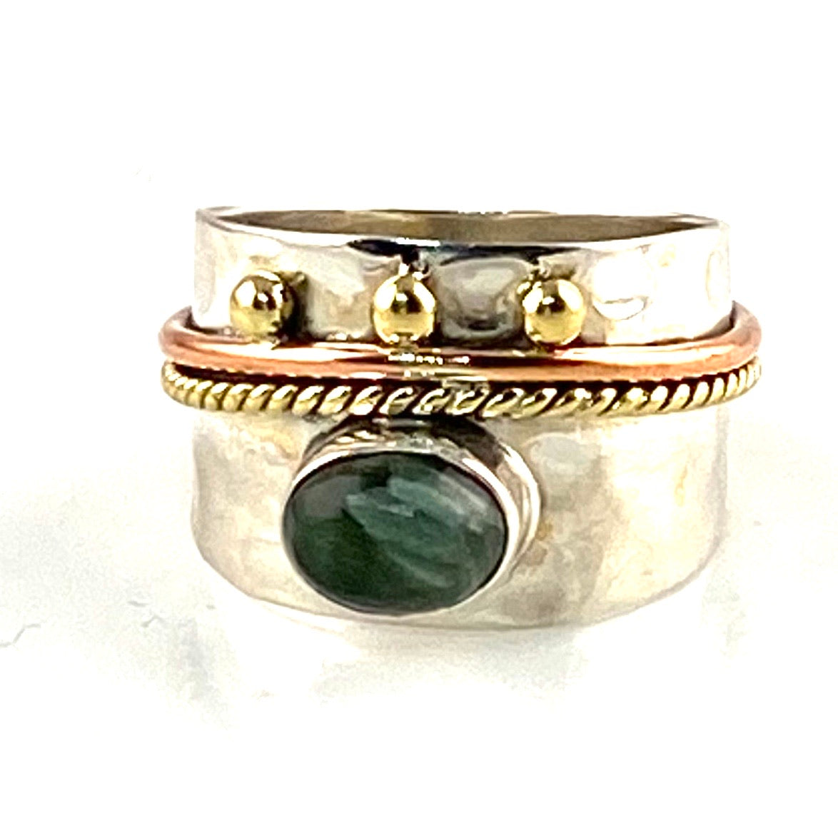 Seraphinite Three Tone Sterling Silver Regal Band Ring