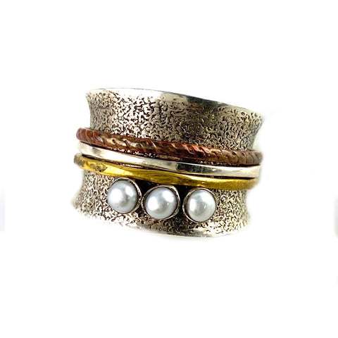 Spinner Ring Three Tone Pearl Spinner - Keja Designs Jewelry