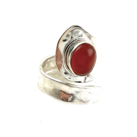 Carnelian Sterling Silver Adjustable Oval Ring - Keja Designs Jewelry