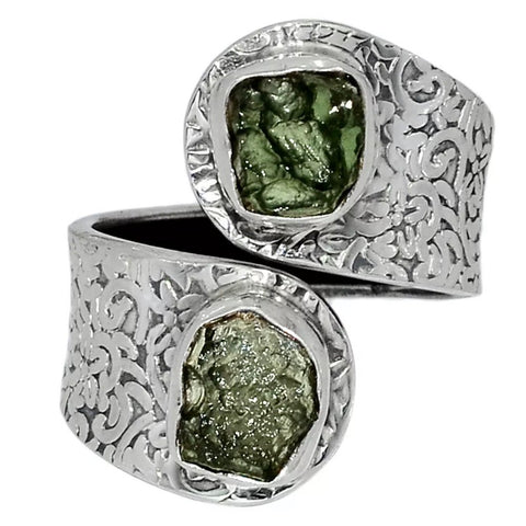 Moldavite Meteorite Sterling Silver Adjustable Ring