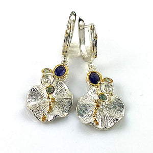 Blue Topaz & Iolite Sterling Silver Gold Lily Pad Earrings