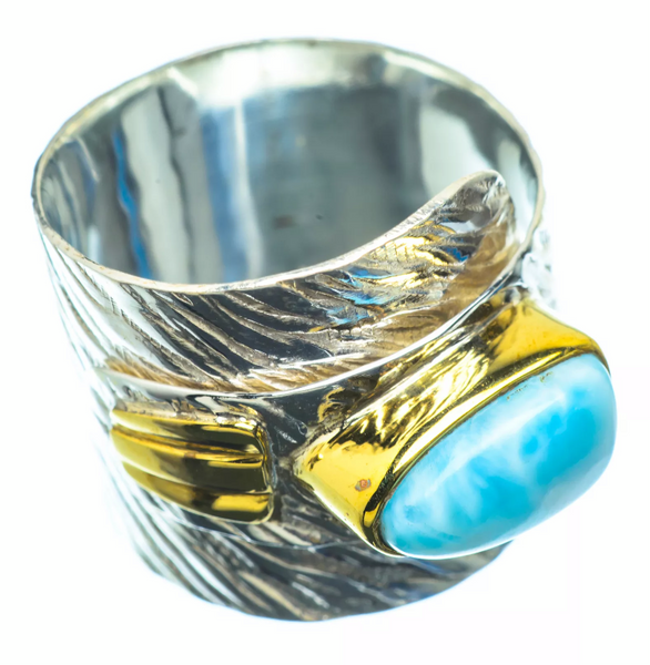 Larimar Two Tone Sterling Silver Adjustable Wrap Ring